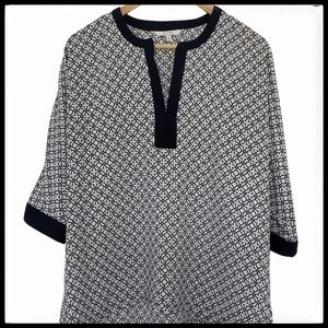 Alfred Sung Geo Pattern Batwing Top